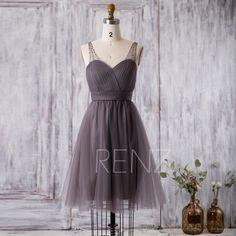 2016 Short Bridesmaid dress, Charcoal Gray Cocktail dress, Wedding dress, Prom dress Backless, Beaded Strap Formal dress knee length(FS250B) by RenzRags on Etsy https://www.etsy.com/listing/295040707/2016-short-bridesmaid-dress-charcoal