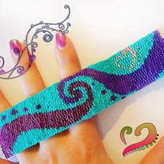 Sexy Swirl - Purple , Fucshia and Turquoise Blue Delicas Cuff Glass Bracelet.