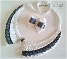 Diy Ribbon, Ribbon Work, Ribbon Crafts, Fabric Ribbon, Textile Jewelry, Fabric Jewelry, Jewelry Art, Jewelry Design, Ribbon Jewelry