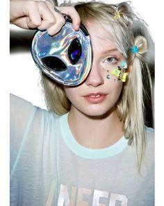 Alien Coin Purse #DollsKill #alien #coinpurse #purse #holographic #hologram #photoshoot #lookbook #model