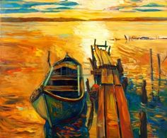 Original Oil Painting Of Boat And Jetty(pier) On Canvas.Sunset.. Stock Photo, Picture And Royalty Free Image. Image 15199593.