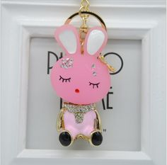 New Fashion Rhinestone Rabbit Keychain Crystal purse Bag Key Chain ring key  Gift(China ( 8a036fc2cc44