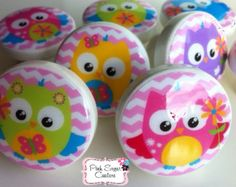 OWL CHEVRON PINK knobs Made to Match bedding woodland drawer pulls girls  ... so cute