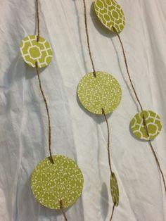 Spring Wedding Decor - GREEN GARLAND with twine decoration Photo Prop