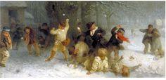 Snowballing, oil painting, John Morgan, 1865