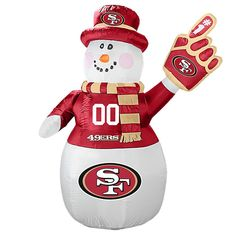 Bring some holiday cheer (and team spirit) to your yard with this San Francisco Inflatable Snowman! This adorable inflatable is perfect for a devout San Francisco family like yours. Oklahoma Sooners Football, Nfl 49ers, 49ers Fans, Ou Football, Pittsburgh Steelers, Dallas Cowboys, Christmas Snowman, Christmas Themes, Holiday Decor