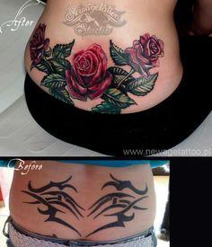 Bildresultat för old school rose lower back tattoo