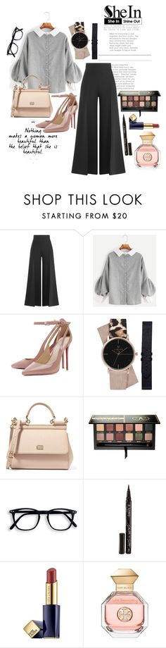 """SheIn: Button Blouse"" by missdelozier ❤ liked on Polyvore featuring Valentino, Dolce&Gabbana, Anastasia Beverly Hills, Smith & Cult, Estée Lauder and Tory Burch"