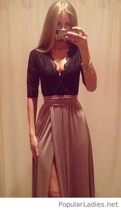 Awesome long skirt and lace top