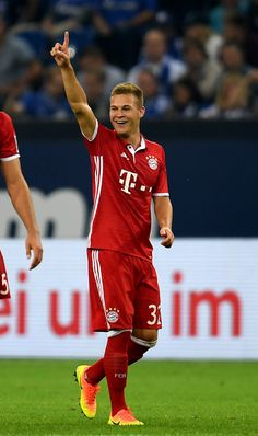 Bayern Munich's midfielder Joshua Kimmich celebrates scoring the 0-2 goal during…