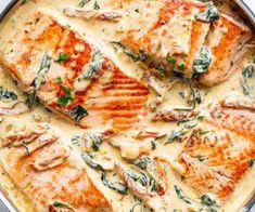 Creamy Garlic Butter Tuscan Salmon recipe: Creamy Garlic Butter Tuscan Salmon (OR TROUT) is such an incredible recipe! Restaurant quality salmon in a beautiful creamy Tuscan sauce! Fish Recipes, Seafood Recipes, Dinner Recipes, Cooking Recipes, Healthy Recipes, Healthy Snacks, Cake Recipes, Seared Salmon Recipes, Baked Salmon