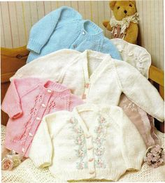 "Instant PDF Download Vintage Row by Row Knitting Pattern to make Baby Childrens Round & V Neck Cardigans with Lacy Panels Chest 16-24"" in DK"