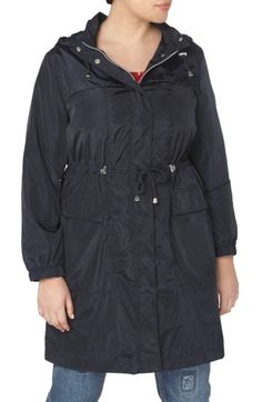 Free shipping and returns on Evans Longline Hooded Raincoat (Plus Size) at Nordstrom.com. Drawstrings at the hood and waist help block wind and refine the silhouette of a lightweight coat in a longer, hip-covering length with a water-resistant finish.