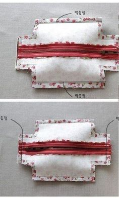 DIY Block Zip Pouch Sew Pattern Tutorial with Template Sewing Hacks, Sewing Tutorials, Sewing Crafts, Sewing Projects, Tutorial Sewing, Beginners Sewing, Bag Tutorials, Handbag Tutorial, Zipper Pouch Tutorial