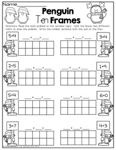 Worksheets ten frame worksheets kindergarten penguin 10 frames kinderland c Kindergarten Math Worksheets, Teaching Math, Math Activities, Winter Activities, Math Games, Ten Frames, Math Addition, Simple Addition, Addition Worksheets