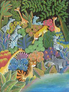 Jungle animaux  Art d'Haïti  grand Art primitifs par TropicAccents