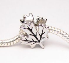 Canadian Maple Leaf Charm Bead fits Pandora by StLouisBeads