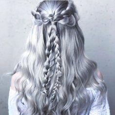 Braids are the ultimate fairytale style. Dreamy look from the fantastic @sydneyannlopezhair. #HairInspo #Braids #BraidGoals #SilverBraid #SilverHair #SilverHairDontCare #FairytaleHair