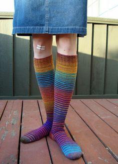 toe-up striped knee highs.  noro kureyon sock. free pattern.  my next project.
