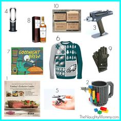"""A """"Holiday Gift Guide for Dads,"""" from TheNaughtyMommy.com. Ten gift ideas for dads. Or guys. Or anyone who likes things like sports, booze, steaks, and gadgets!"""