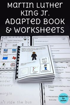 Interactive adapted book about Martin Luther King Jr.  Perfect for special education and speech therapy to work on reading comprehension and answering WH questions.  Includes differentiated worksheets to add a writing component.