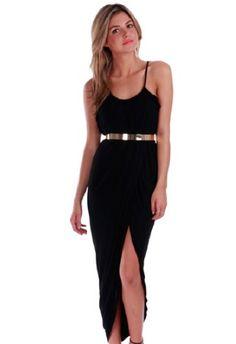 Spaghetti Strap Split Black Dress