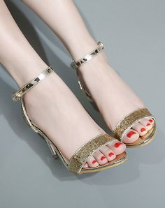 Gold Elegant Sequins Open-Toe Ankle Strap High Heels, Gold, L&A | VIPme