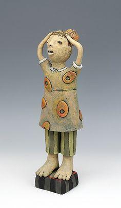 clay ceramic sculpture by sara swink girl
