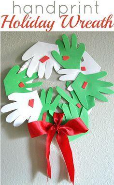 handprint holiday wreath