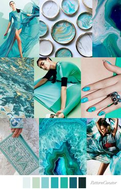 Our FV contributor and friend, Pattern Curator curates an insightful forecast of mood boards & color stories. Fashion Themes, 2020 Fashion Trends, Fashion Colours, Pattern Curator, Turquoise Fashion, Turquoise Clothes, Turquoise Color, Turquoise Stone, Inspiration Art