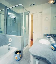 shower and tub side by side