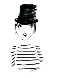 Top hat and striped tee, fashion illustration by Monica Lee, XO Monica Lee fashion illustrator