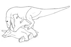 How to eat a Triceratops :    Step one: get a good grip on the neck frill.  Step two: tear the head off to expose the tasty ne  ck muscles.  Step three: nibble on the soft flesh of Triceratops' face.  Step four: feast on the delicacies beneath the frill.  Step 5. Profit