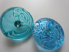 Czech Vintage Buttons   lot of 2 watercolor blue by pillowtalkswf, $5.00