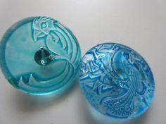 Czech Vintage Buttons   lot of 2 watercolor blue by pillowtalkswf, $5.00