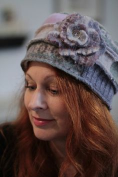 Felted Wool Hat in Muted Shades of Grey by ImpossiblyCuteHats, $30.00