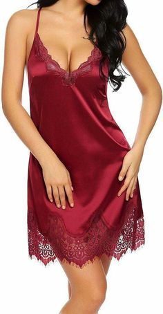 Women Sexy-Lingerie V-Neck Nightwear Satin Sleepwear Lace Chemise Dress Red , Lingerie Satin, Babydoll Lingerie, Sexy Lingerie, Babydoll Nightwear, Fashion Lingerie, Lace Babydoll, Sexy Pyjamas, Ropa Interior Babydoll, Actrices Sexy