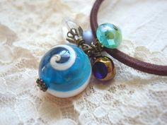 Hair Elastic Blue And Aqua Color Plastic Beads by KanaBeadsGarden, $9.00