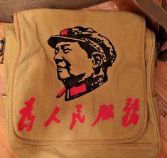 Unisex Accessories · Chairman Mao Messenger Bag Shoulder Tote Retro Khaki  Cotton Canvas Large NWOT  fashion  clothing 92a49053aeba
