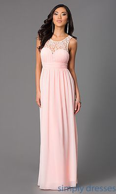 Sleeveless Floor Length Dress with Lace Embellished Neckline at SimplyDresses.com $69