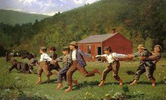 Snap the Whip by Winslow Homer. Homer's style in the 1870s took on a impressionistic light and anecdotal content, evident in his immediately popular Snap the Whip (1872).