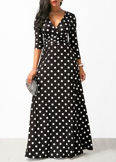 26a6698799d High Waist Polka Dot Print Black Maxi Dress
