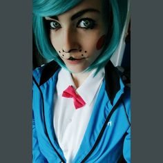 I really wanted to try another fnaf Makeup. I tried Toy Bonnie but....well I think I look liked Cyrus from ACNL :'D #cosplaymakeup #toybonnie #bonniecosplay #toybonniecosplay #cosplay #fnafcosplay #wig #fnaf #fivenightsatfreddys2