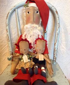 Personalized Christmas Santa clause with two by oldragdollcupboard, $49.00