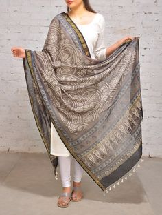 Buy Pale Brown Blue Bandhani Chanderi Dupatta Accessories Dupattas Online at Jaypore.com