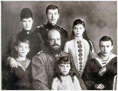 Romanov Emperor Tsar Alexander III with Tsarina Maria Feodorovna and their five children.
