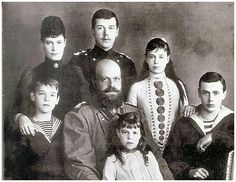 Tsar Alexander III with his wife Empress Marie Feodorovna and their family.