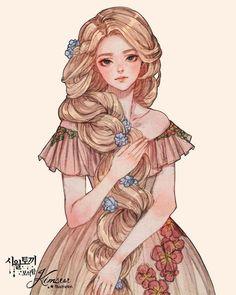 Disney Princess Art, Anime Princess, Disney Fan Art, Girl Cartoon, Cartoon Art, Pretty Art, Cute Art, Rapunzel, Character Inspiration