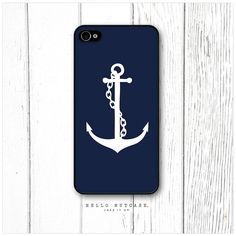 iPhone 4 and 4S case Anchor on Navy Blue