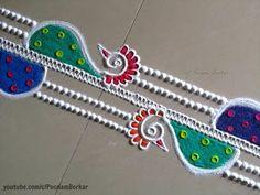 Easy and quick peacock border rangoli design Rangoli Designs Flower, Small Rangoli Design, Rangoli Border Designs, Rangoli Designs Diwali, Diwali Rangoli, Flower Rangoli, Beautiful Rangoli Designs, Kolam Designs, Indian Rangoli